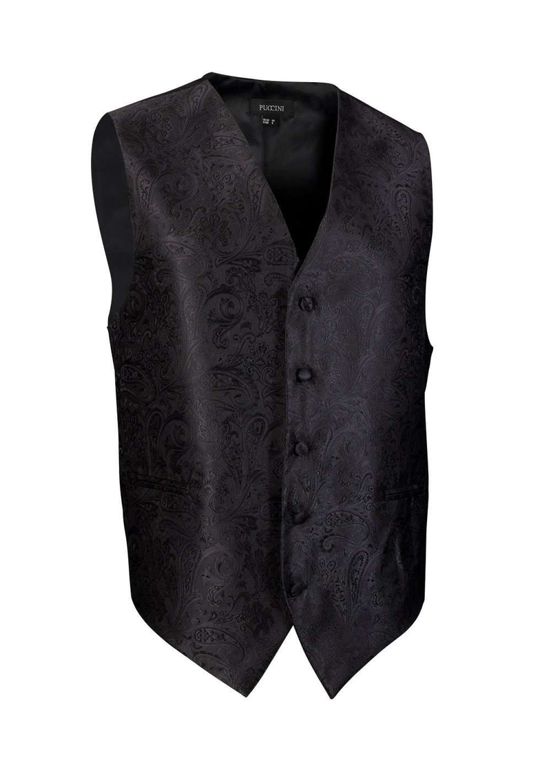 Formal Black Proper Paisley Vest