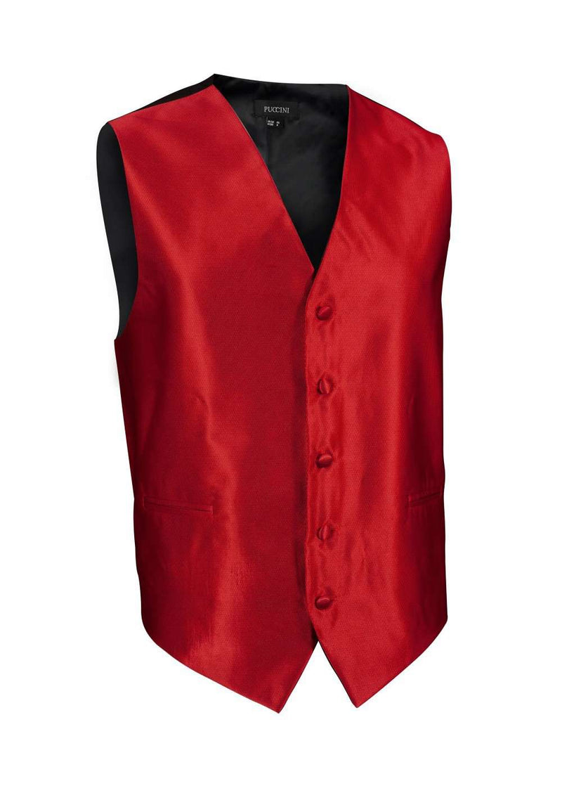 Cherry Red Solid Vest - Men Suits