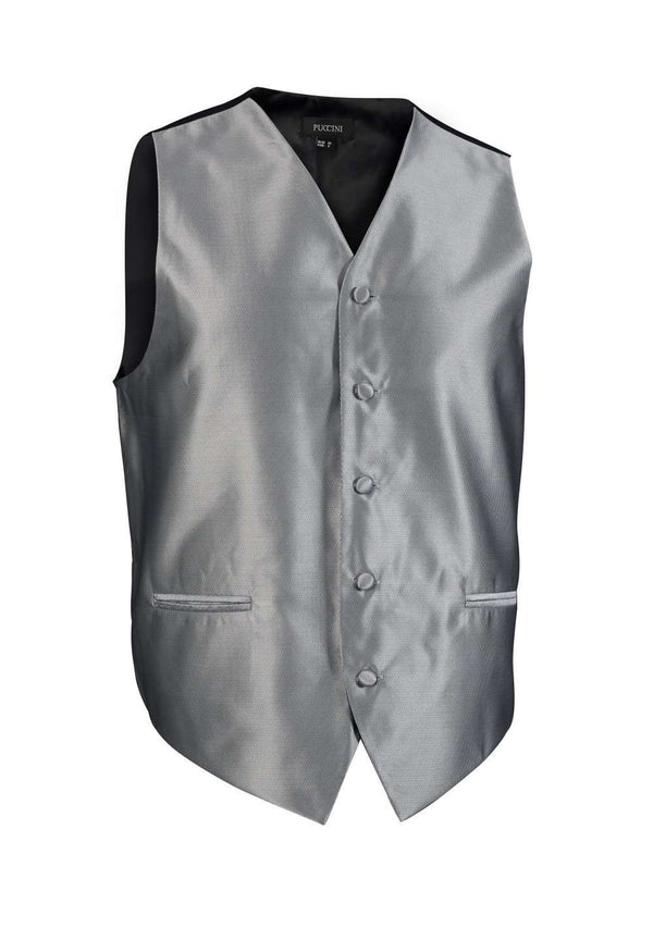 Formal Gray Solid Vest - Men Suits