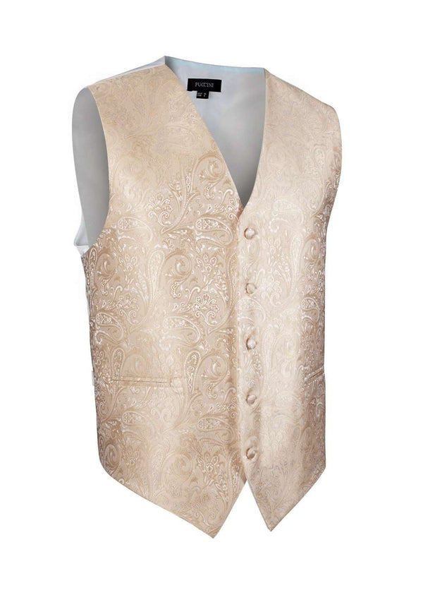 Golden Champagne Proper Paisley Vest - Men Suits