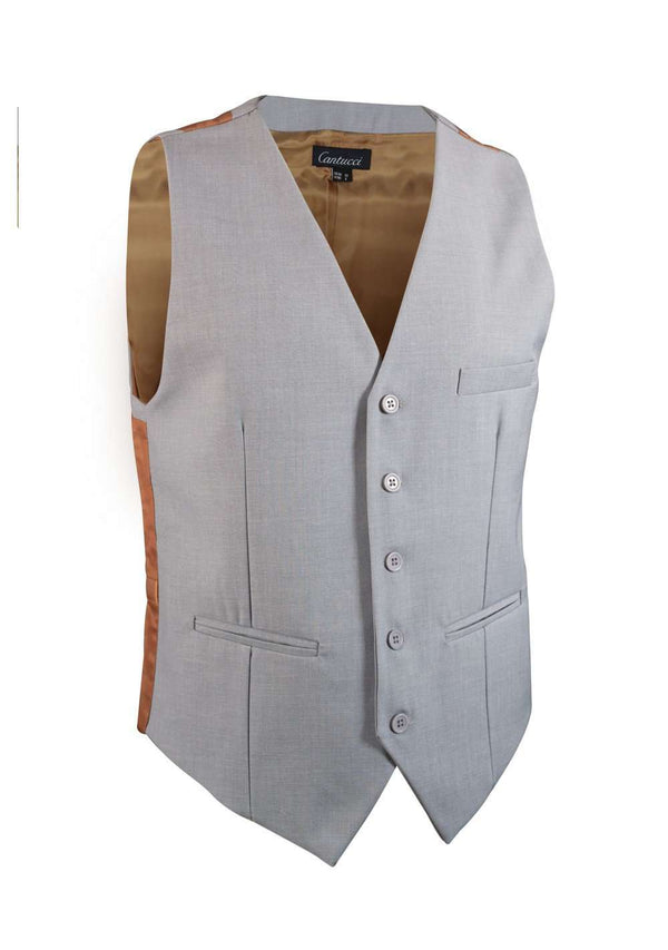 Light Gray Solid Vest - Men Suits