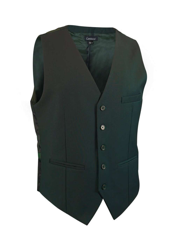 Hunter Green Solid Vest - Men Suits