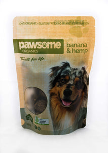 Pawsome Organics - Banana & Hemp Dog Treats 250gm
