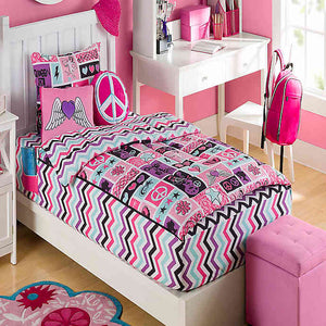 Edredón Zip It Bedding para Niña Princesa Rockera Rosa