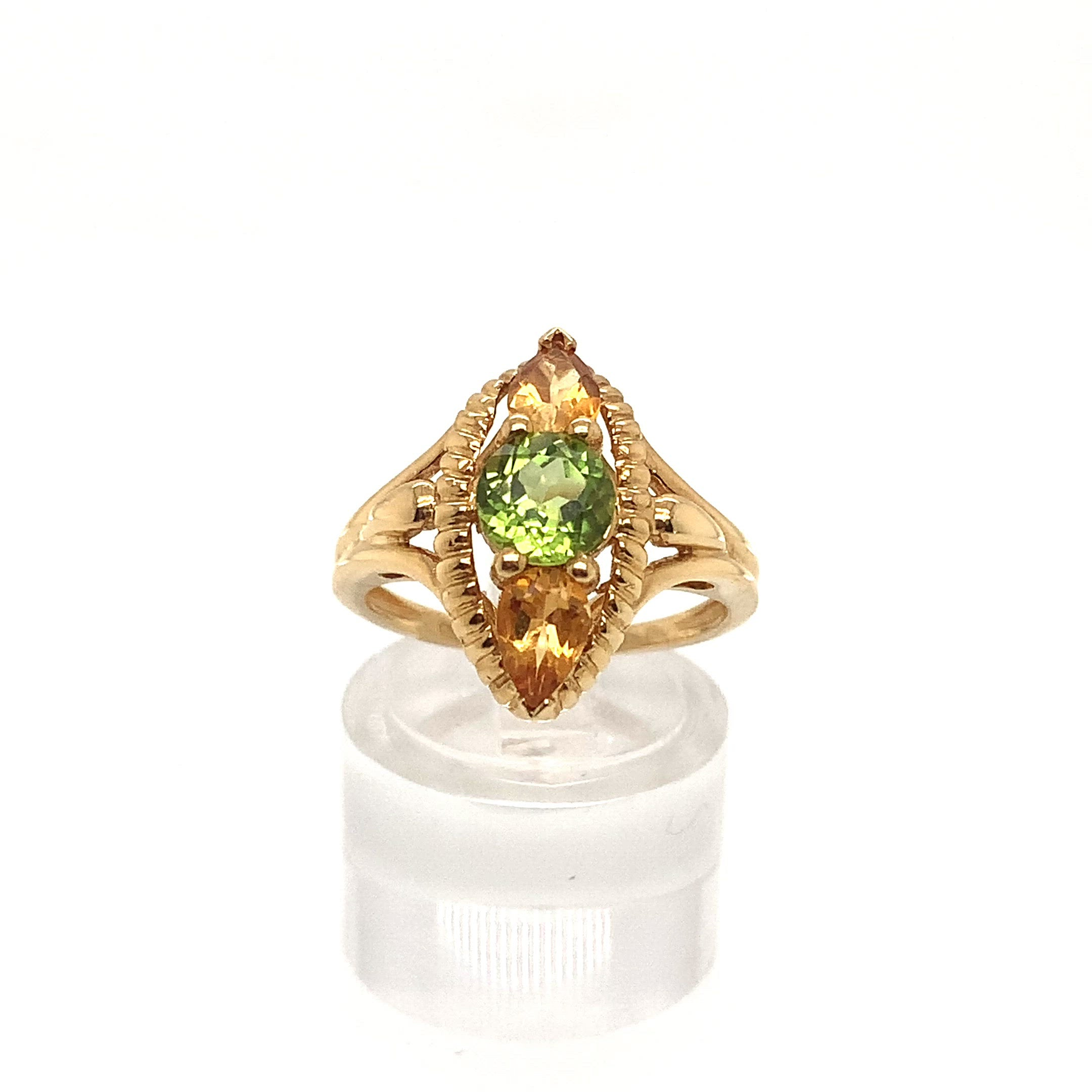 Three stone Peridot and Citrine Ring