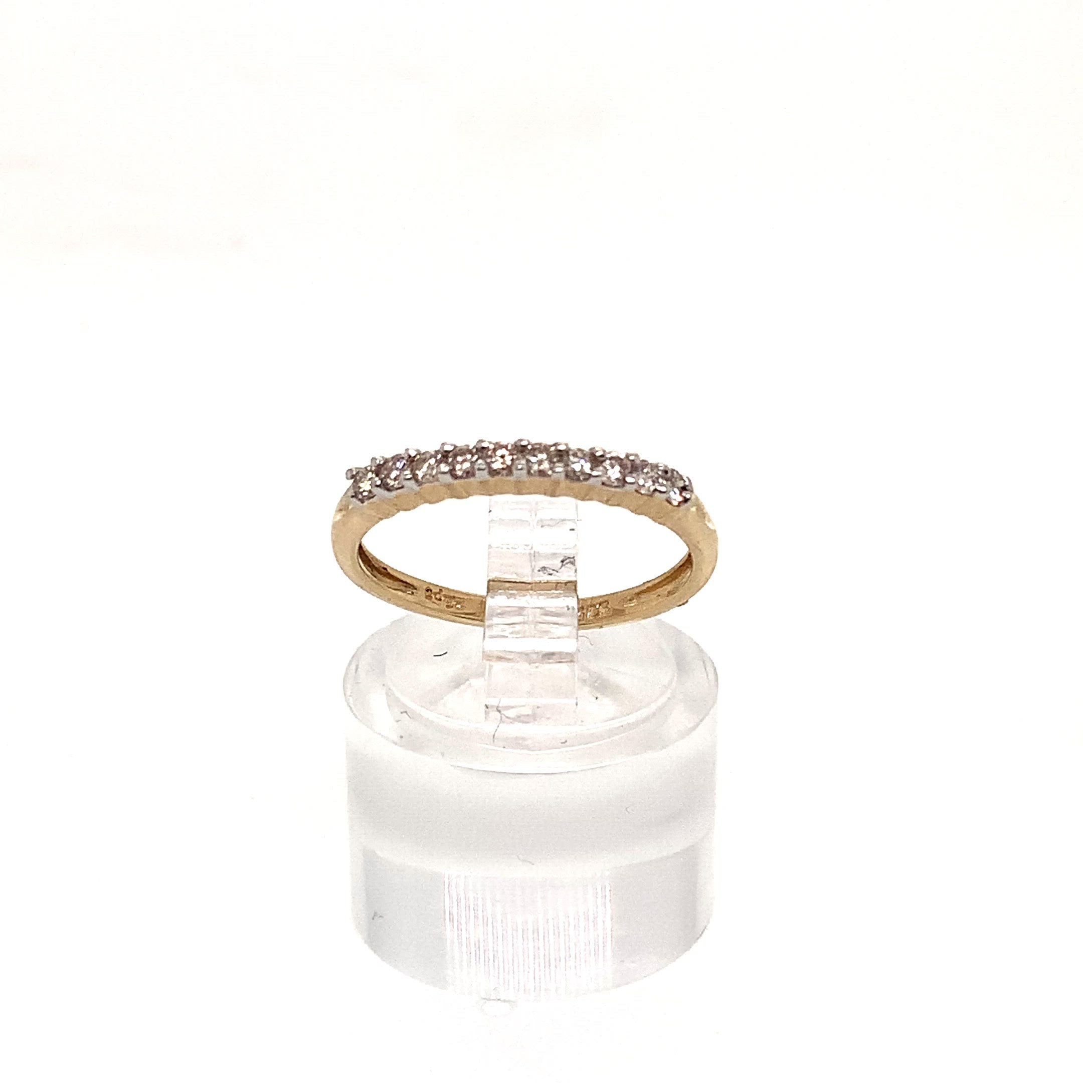 9ct Yellow Gold 10 Stone Diamond Half Eternity Ring