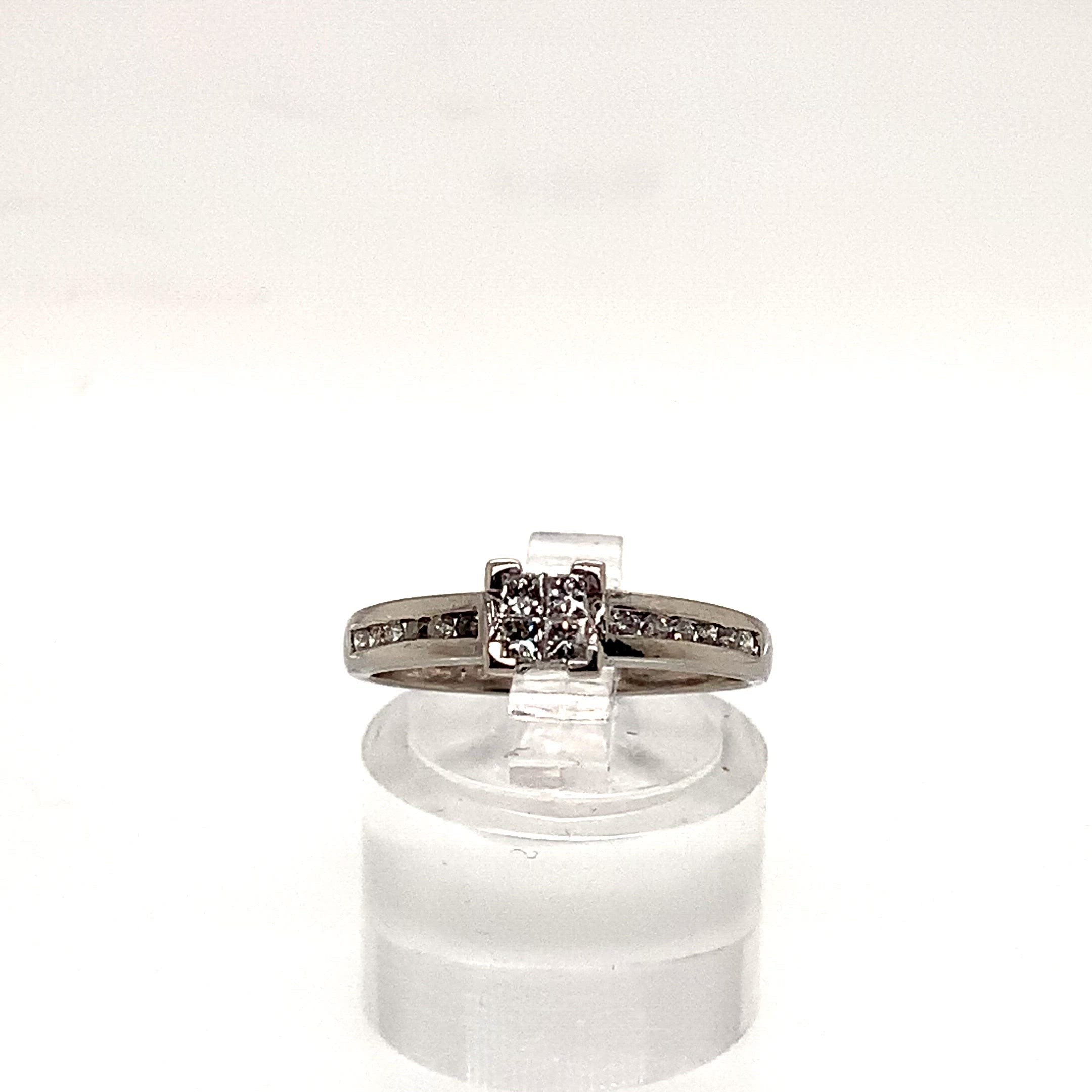 9ct White Gold Invisible Set Solitaire Style Ring