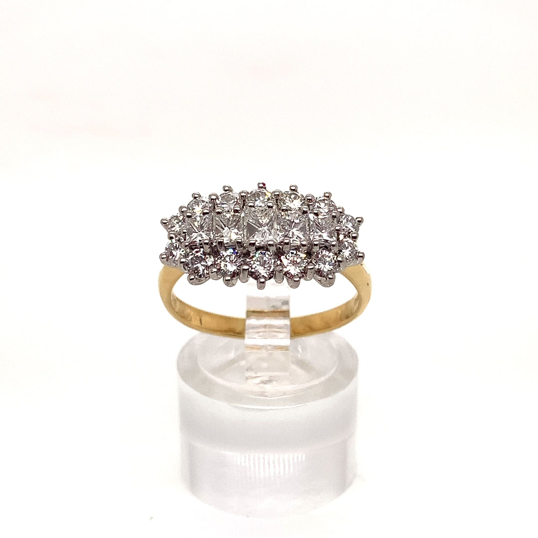 18ct Yellow Gold Princess and Brilliant Cut Diamond Cluster Ring