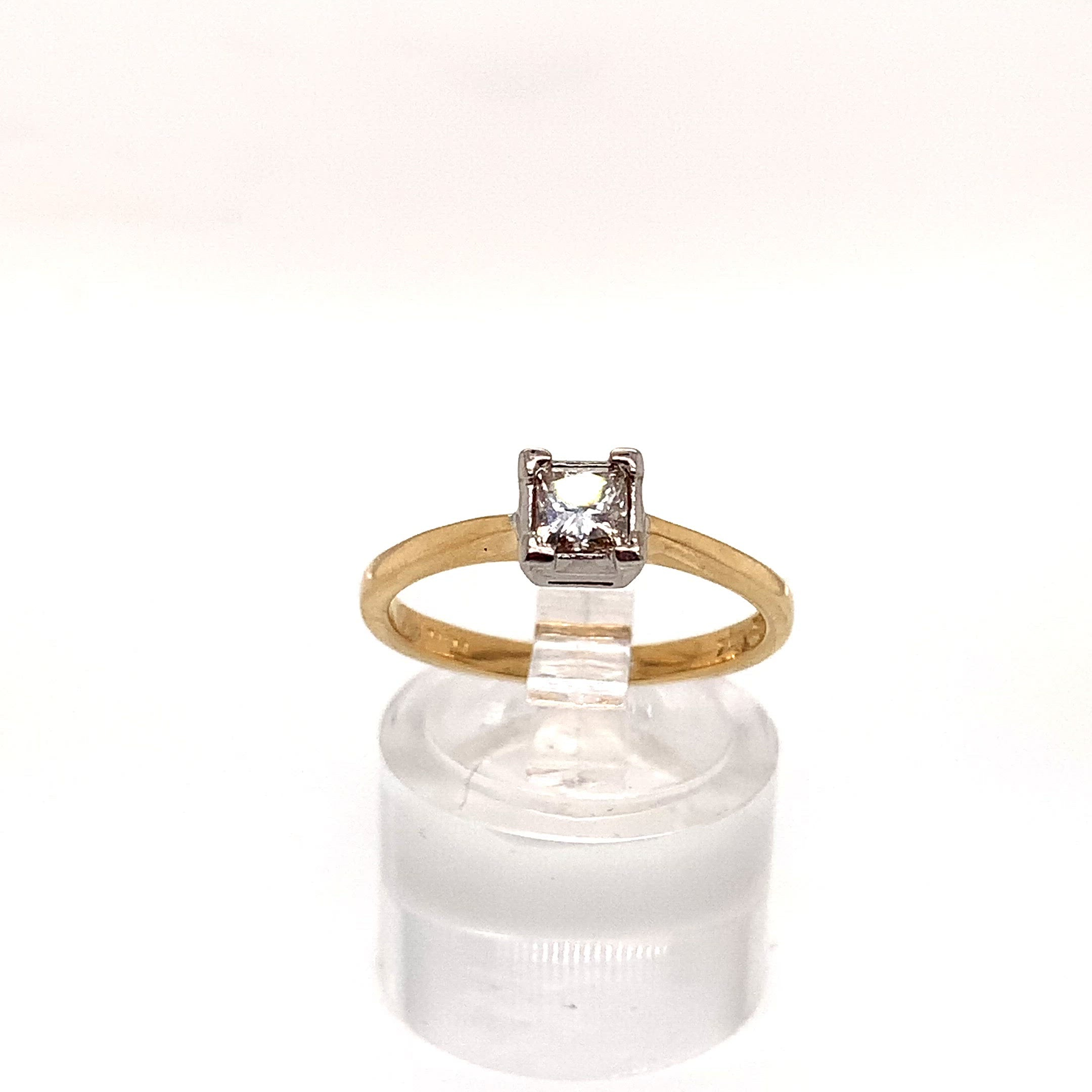 18ct Yellow Gold Princess Cut Solitaire Ring