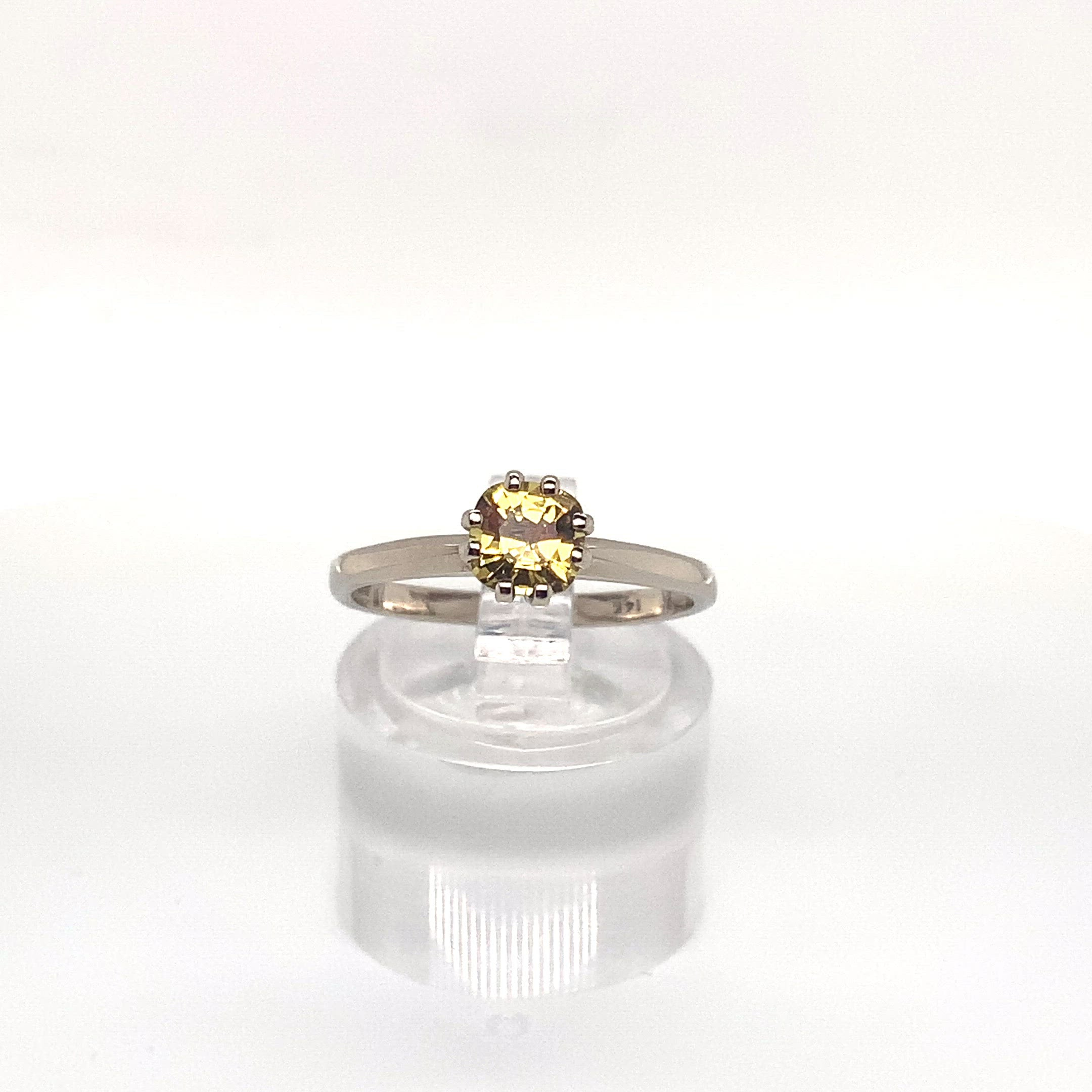 0.70ct Cushion Cut Yellow Sapphire Solitaire Ring