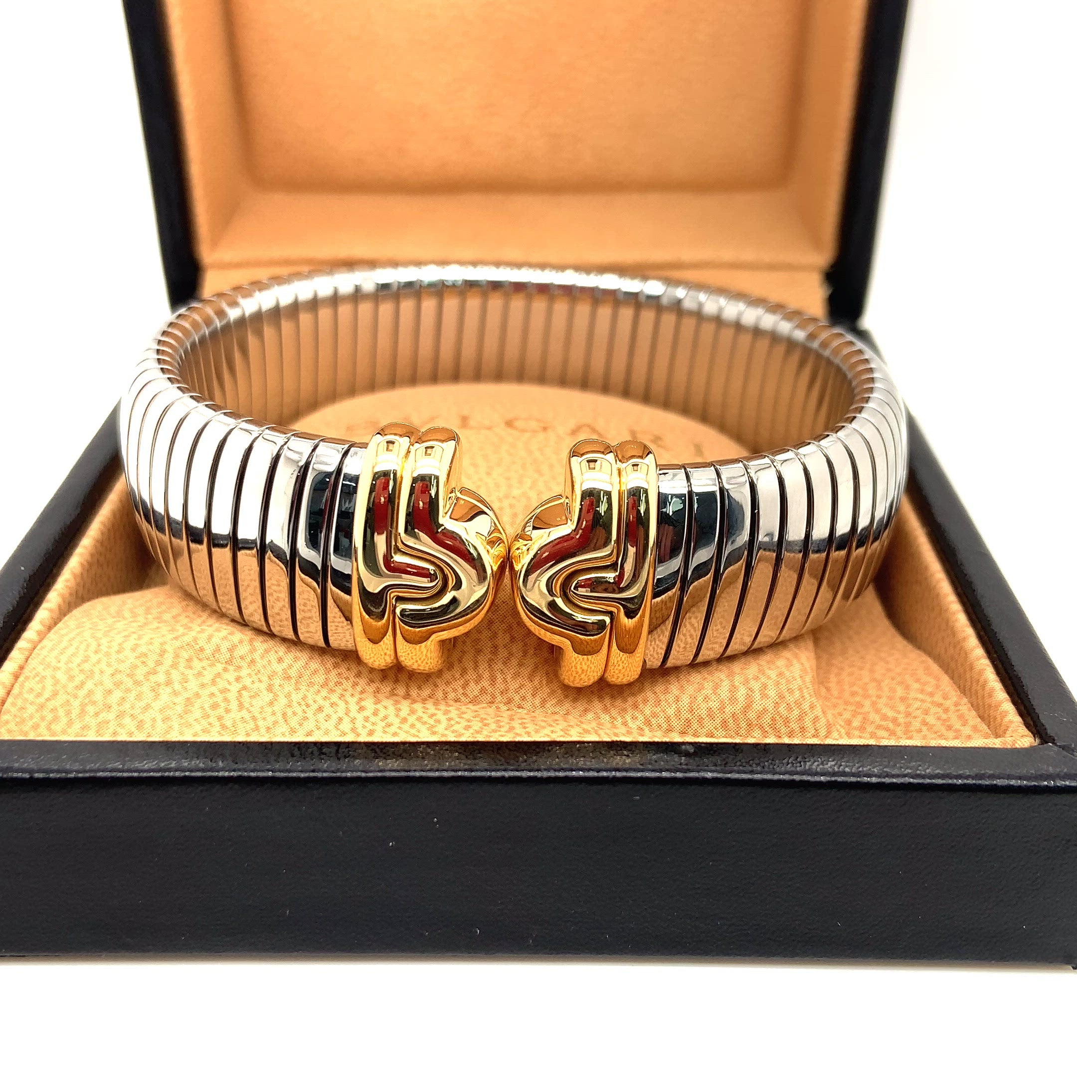 BVLGARI Parentesi Tubogas Cuff Bangle 18ct Gold & Stainless Steel