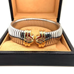 Load and play video in Gallery viewer, BVLGARI Parentesi Tubogas Cuff Bangle 18ct Gold & Stainless Steel