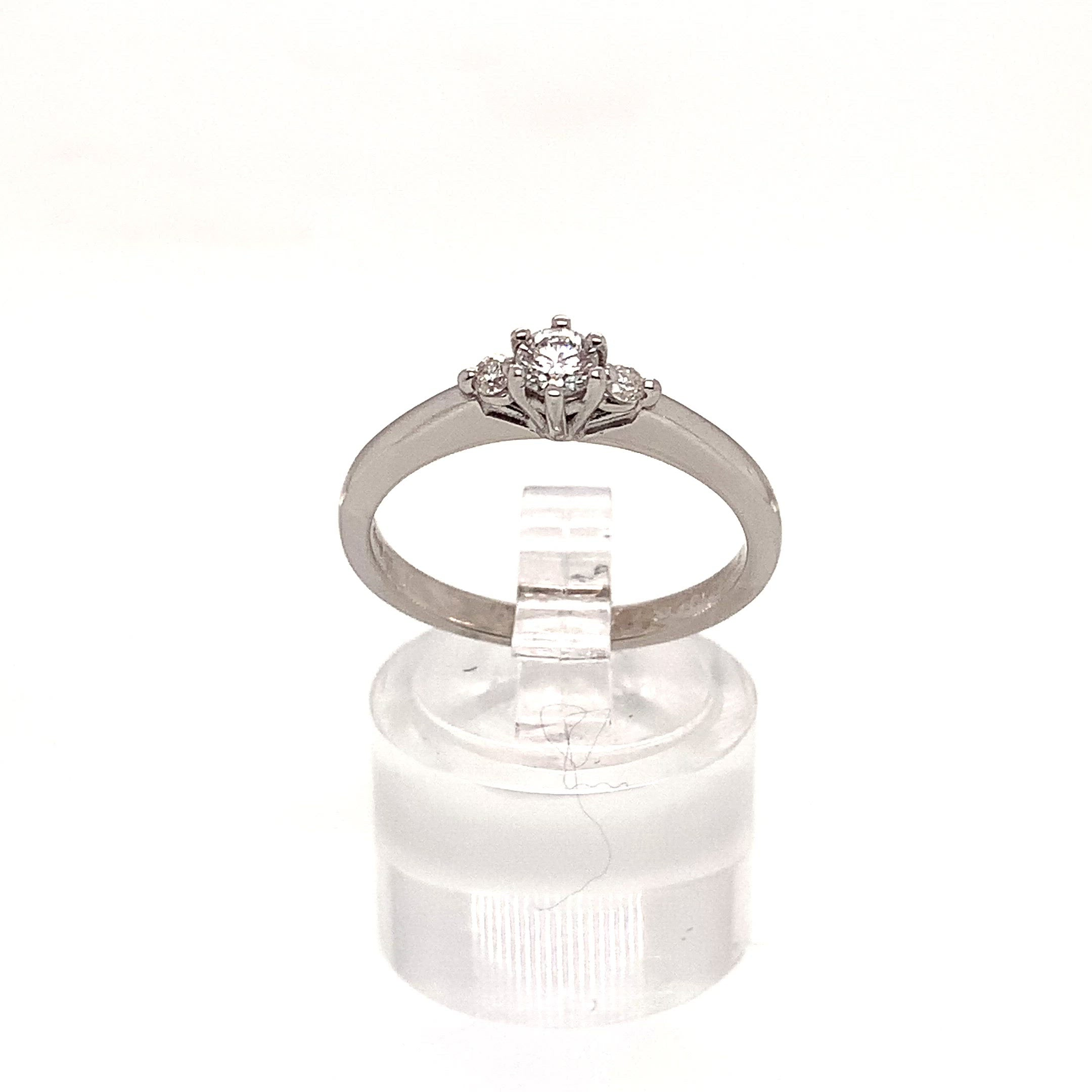 18ct White Gold Diamond Trilogy Ring