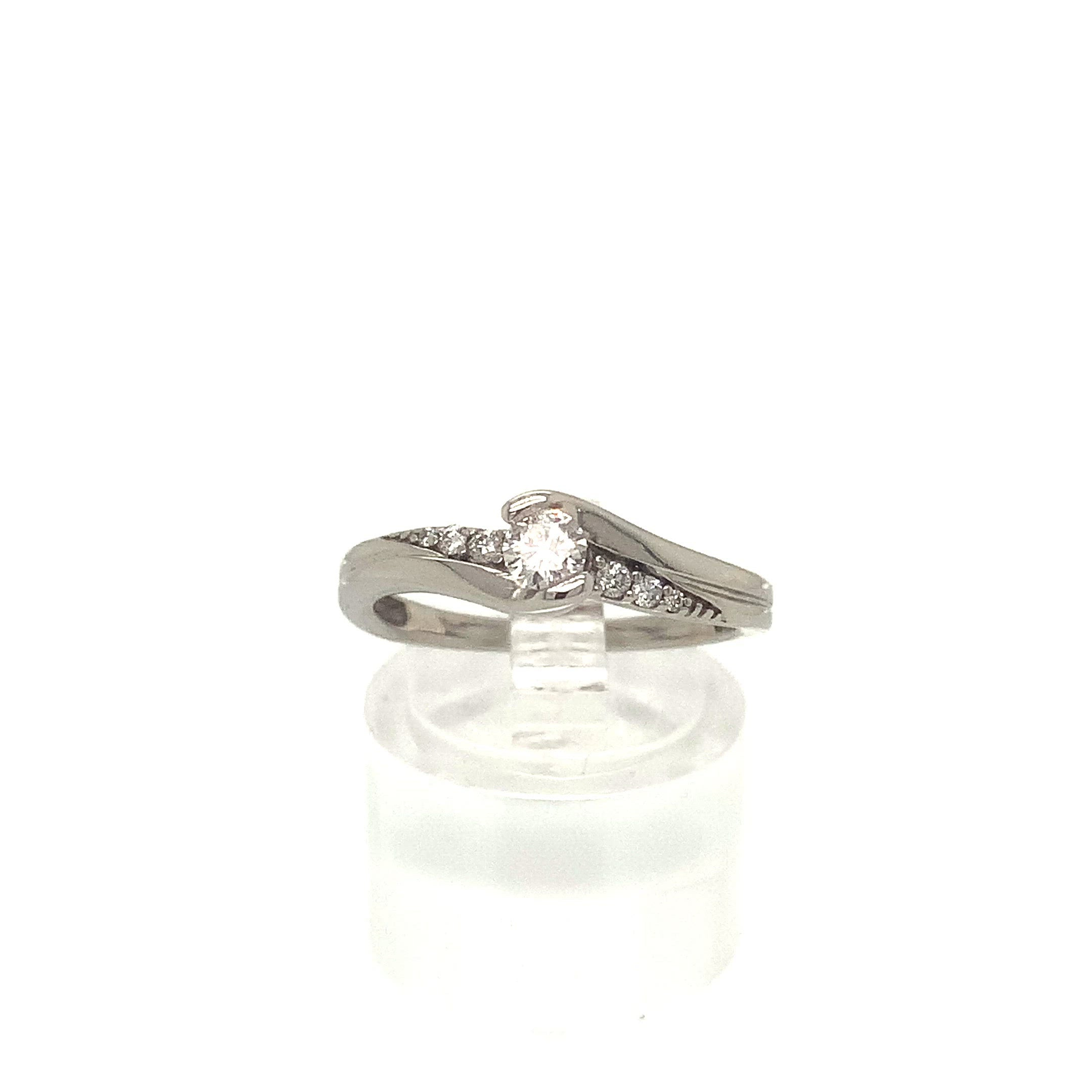 9ct White Gold Twist Solitaire Style Diamond Ring
