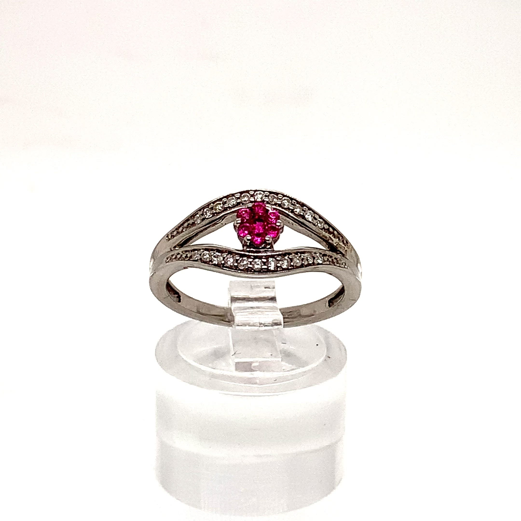 9ct White Gold Invisible Set Ruby & Diamond Dress Ring
