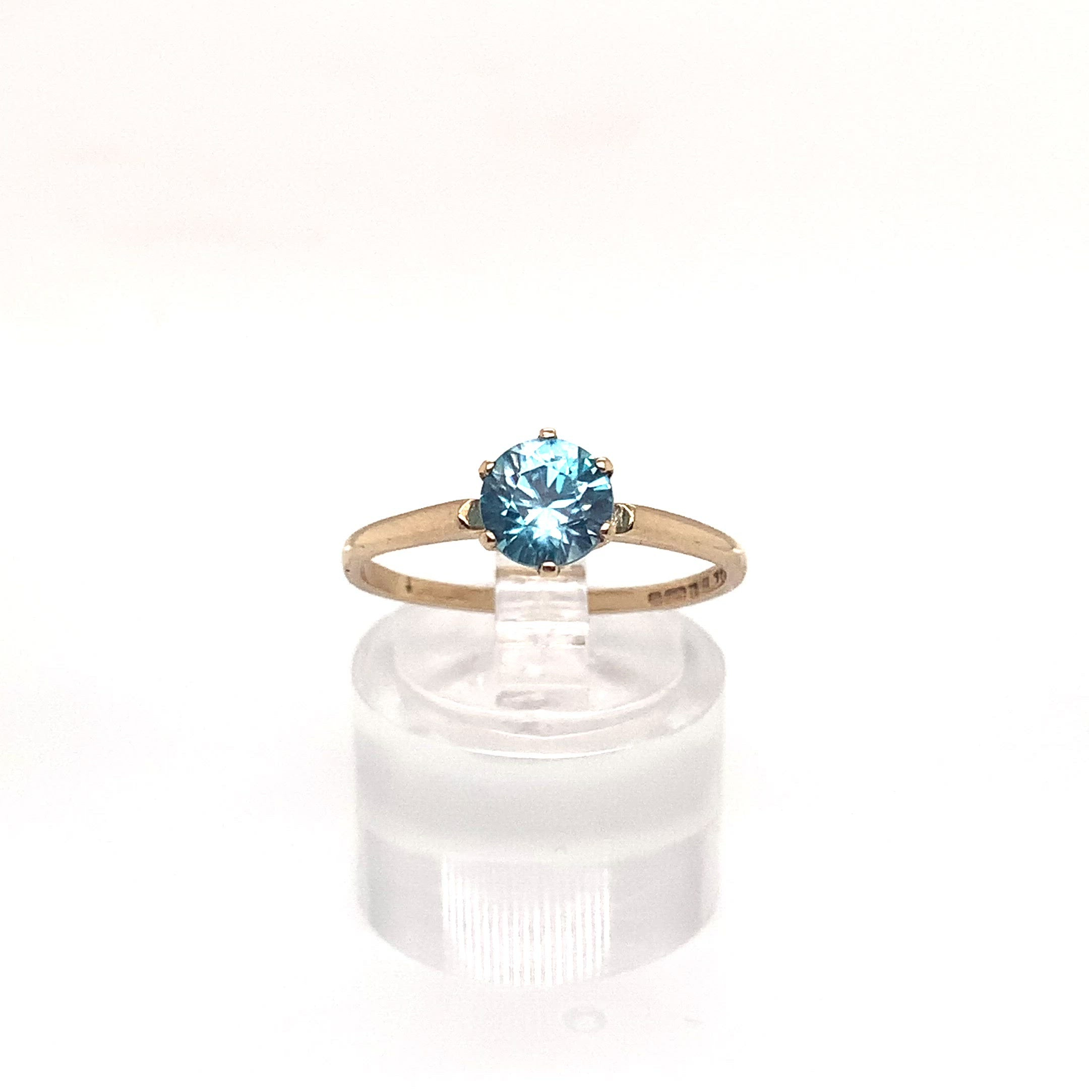1.26ct Vivid Blue Round Cut Zircon Solitaire Ring
