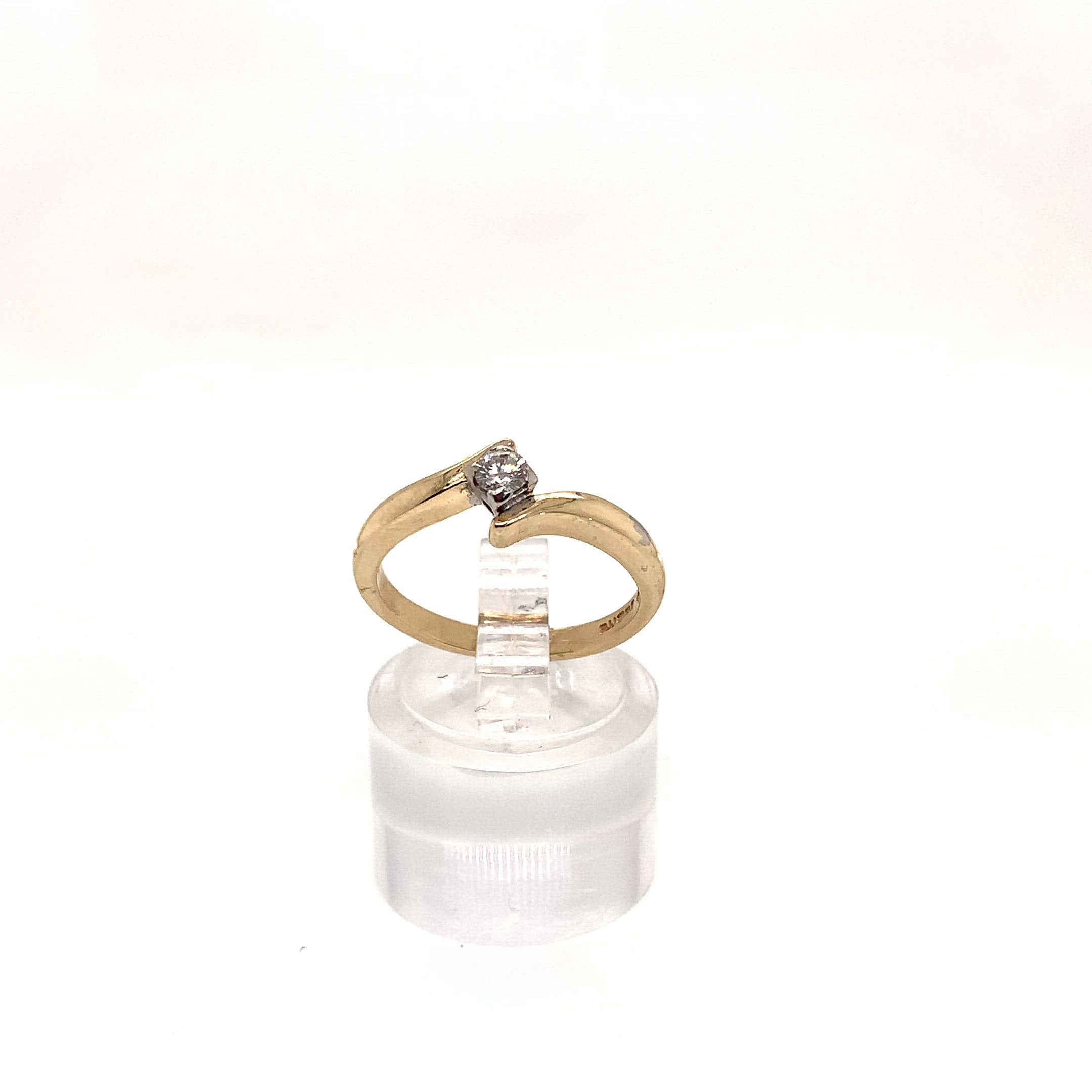 9ct Yellow Gold Diamond Twist Solitaire Ring