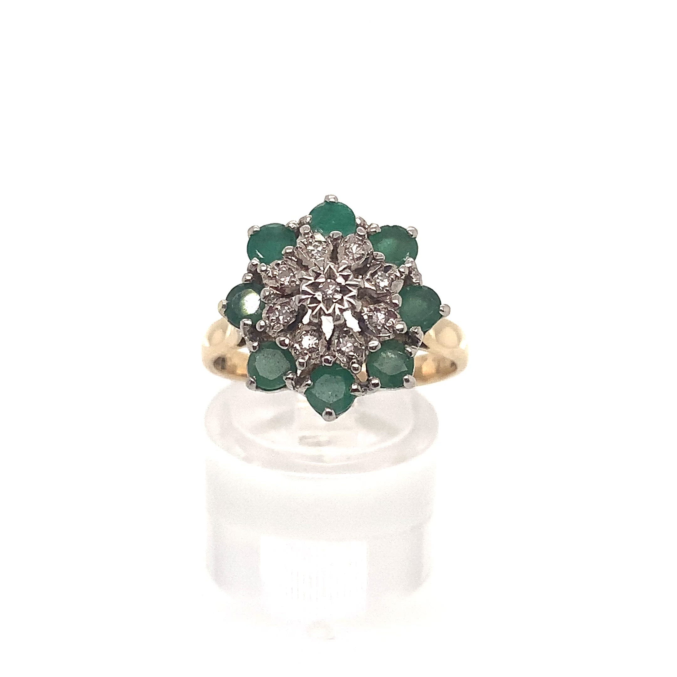 9ct Yellow Gold Emerald & Diamond Cluster Ring
