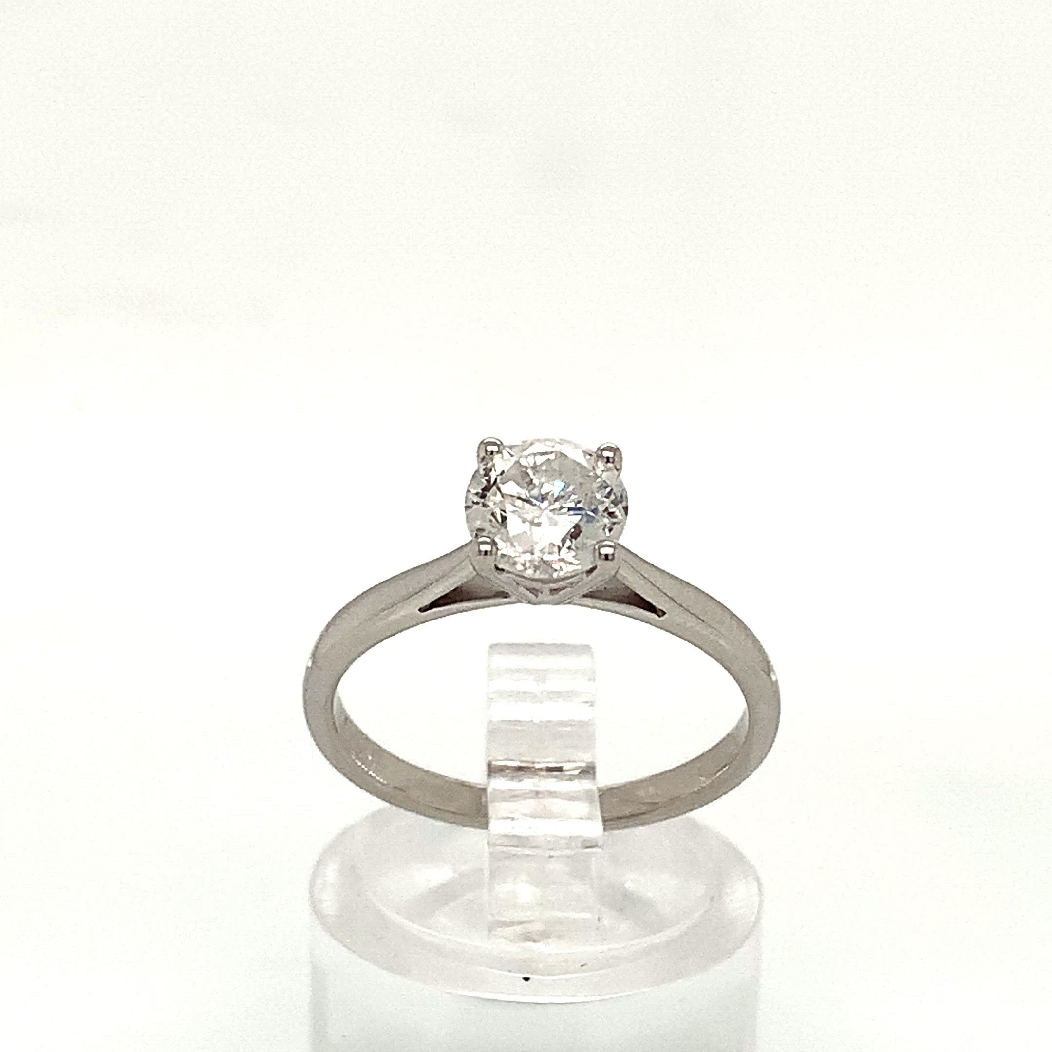 18ct White Gold 1.08ct Diamond 4 Claw Solitaire H/I1