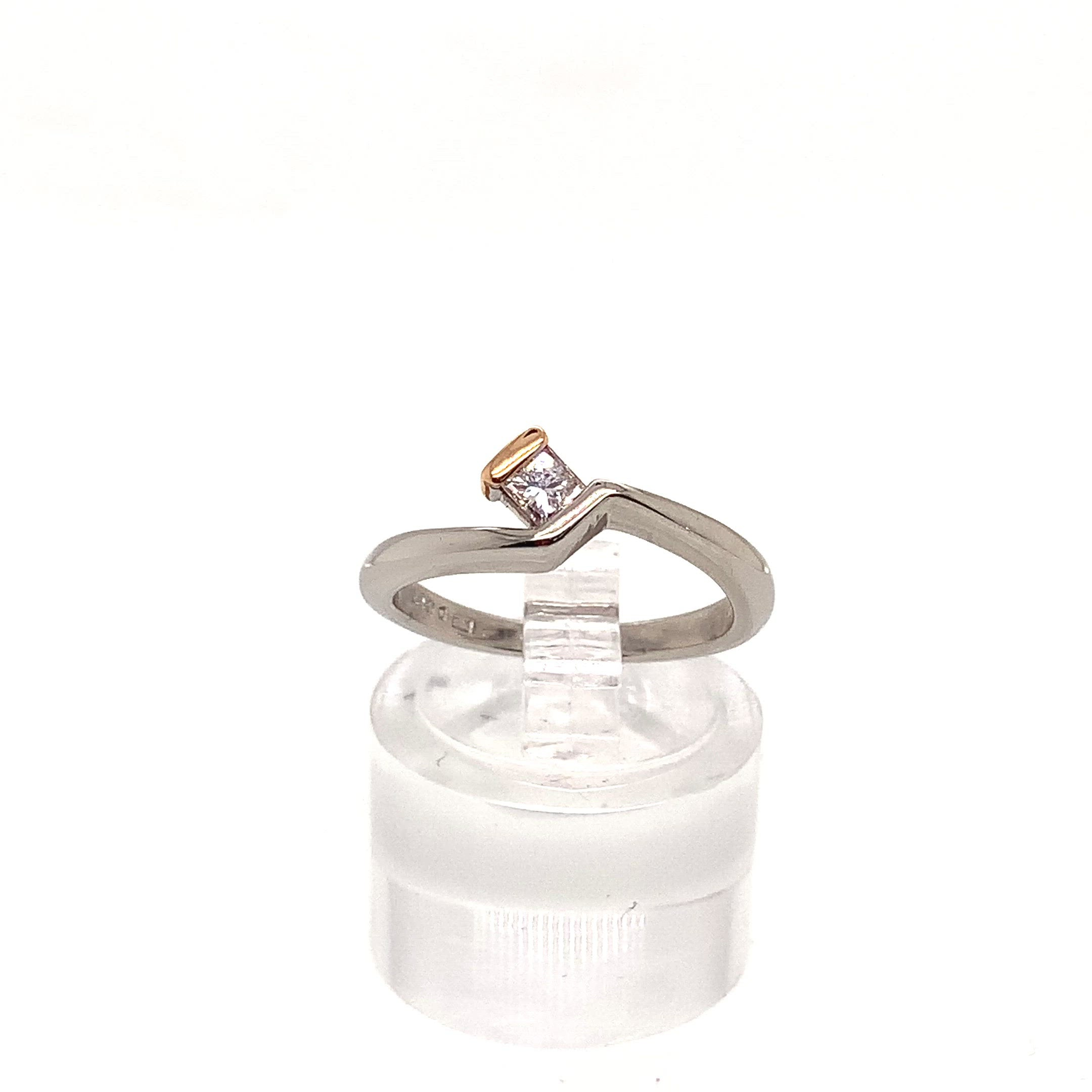 Princess Cut Solitaire Ring 18ct White Gold with Red Gold Detail 0.17ct