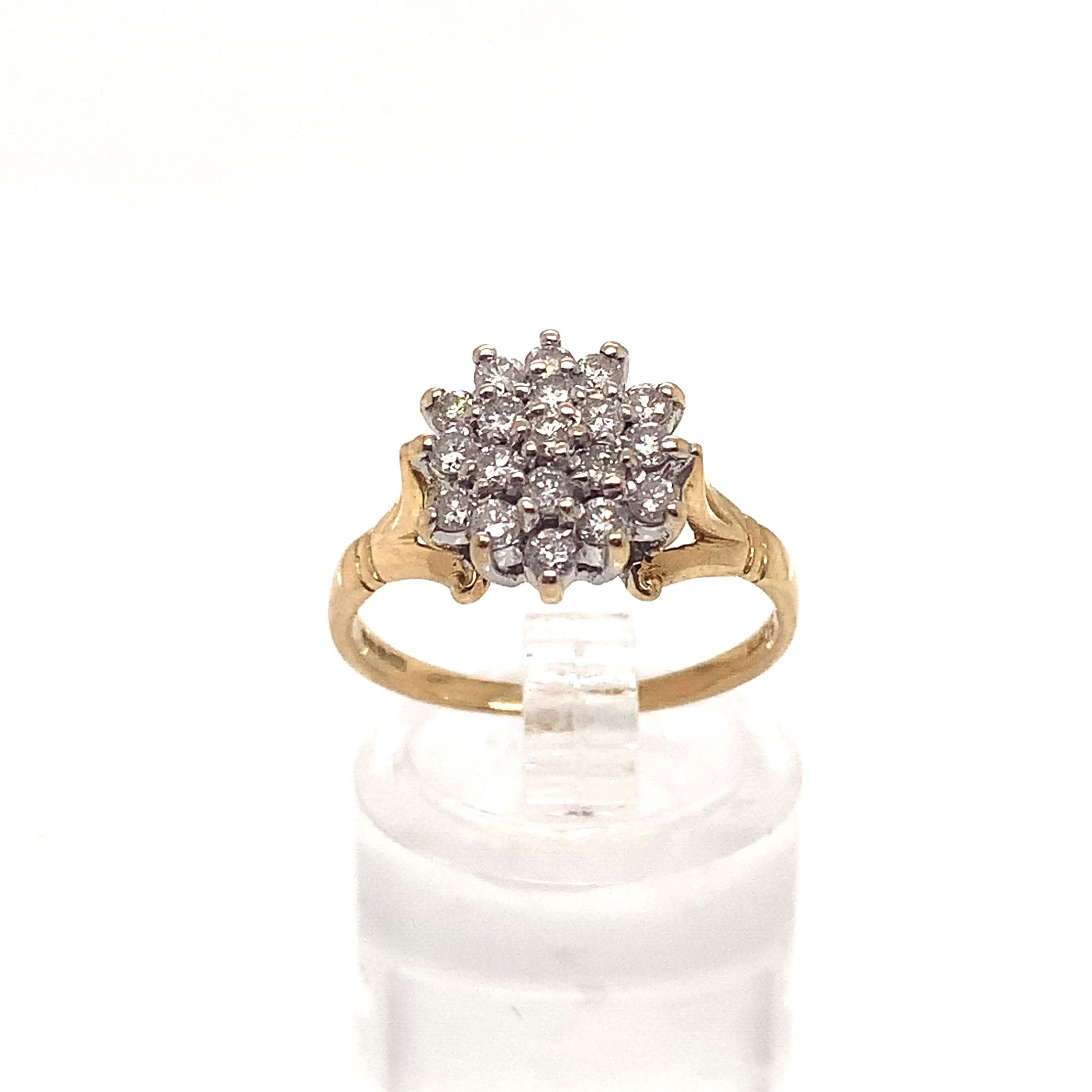 18ct Yellow Gold 0.50ct Diamond Cluster Ring