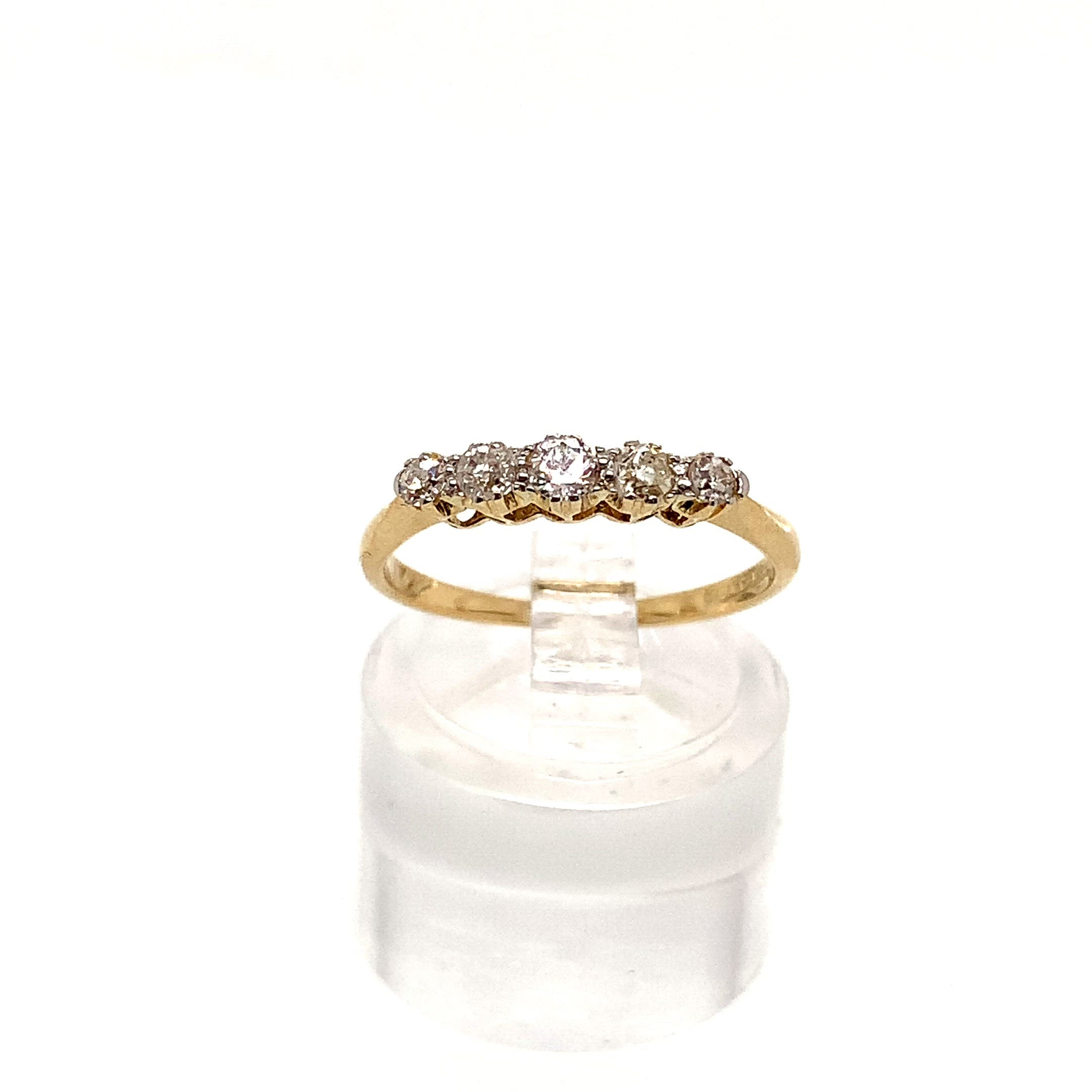 18ct Yellow Gold Graduated 5 Stone Old Cut Diamond Ring with Platinum Head