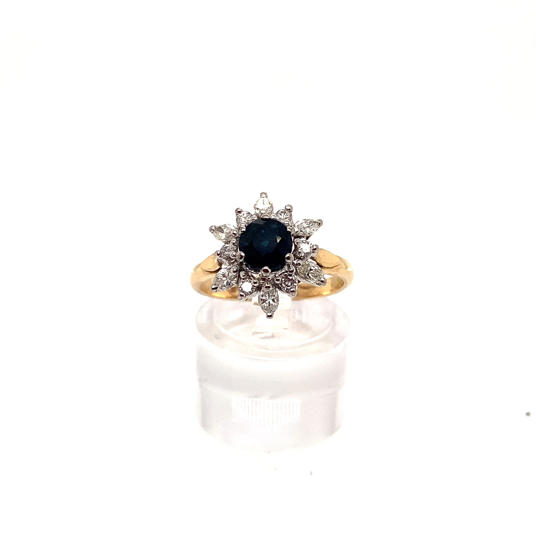 Blue Spinel & Diamond Cluster Ring
