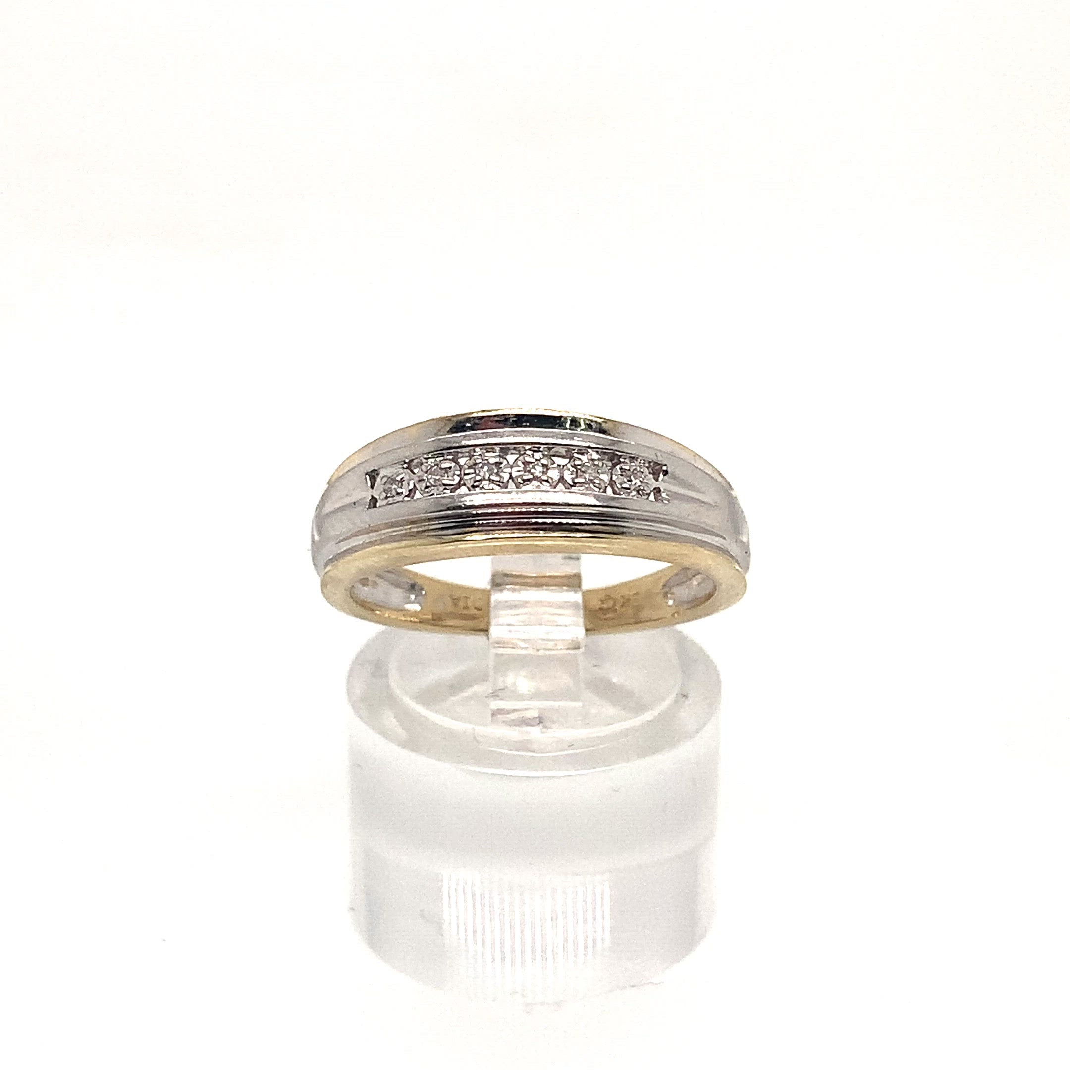 9ct Gold Diamond Ring - Illusion Set Line