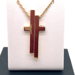 18ct Yellow Gold Gucci Split Cross Necklace