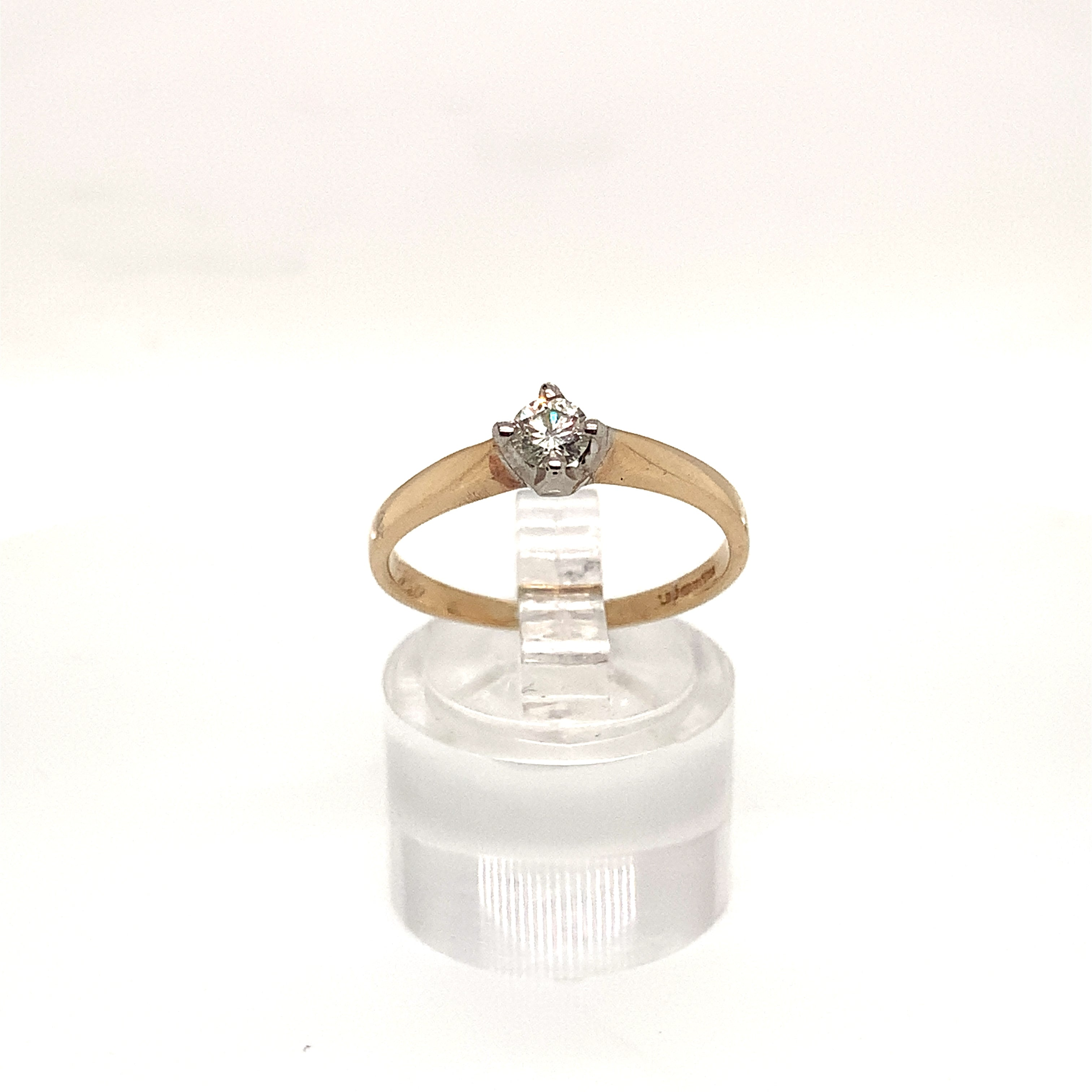 9ct Yellow Gold Compass Set Diamond Solitaire Ring