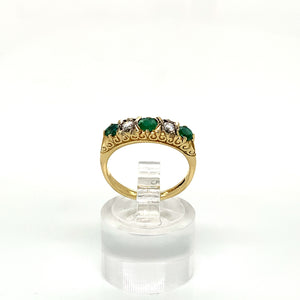 18ct Yellow Gold Emerald & Diamond Gypsy Style Ring