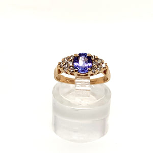 14ct Tanzanite & Diamond Cluster Ring