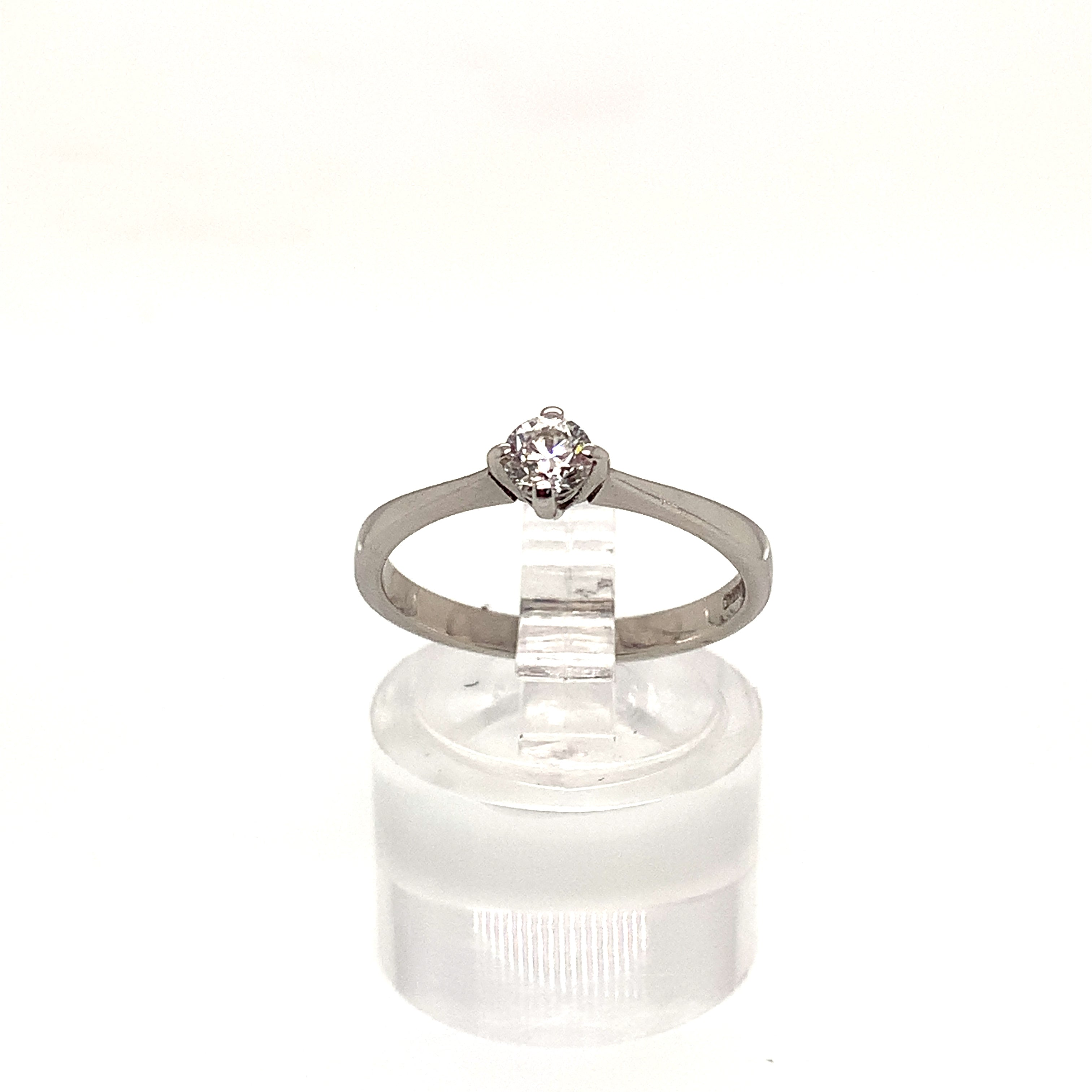 18ct White Gold Compass Set Diamond Solitaire