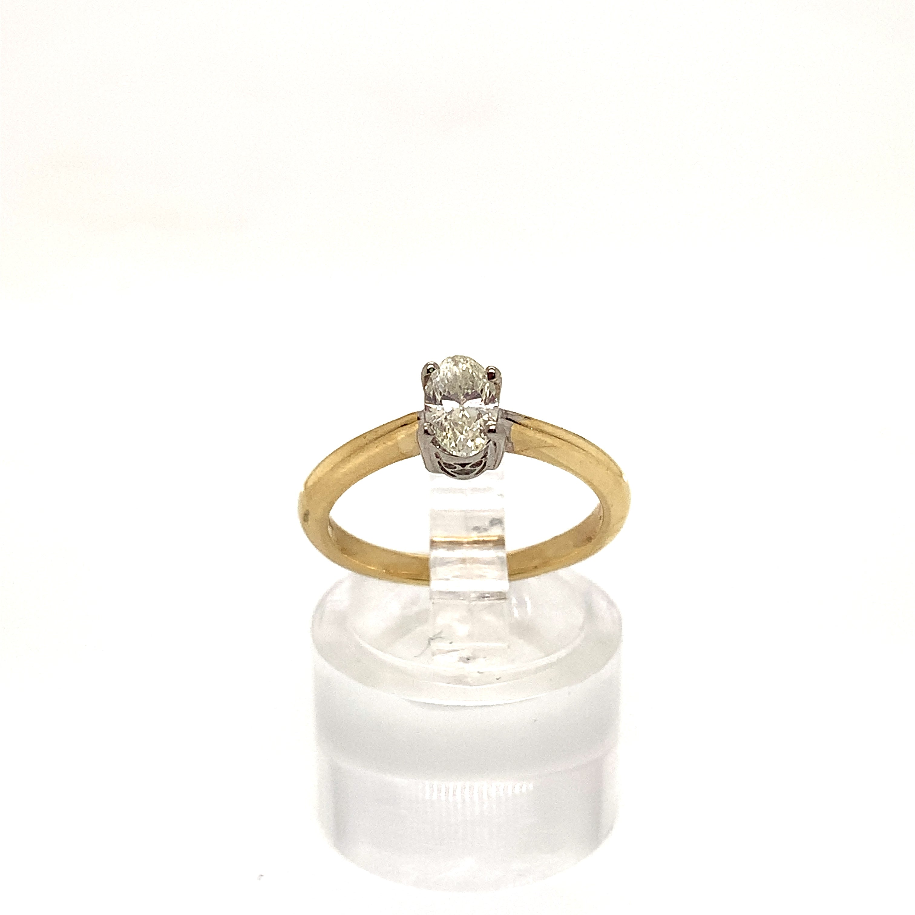 18ct Yellow Gold 0.50ct Oval Brilliant Cut 4 Claw Solitaire Ring