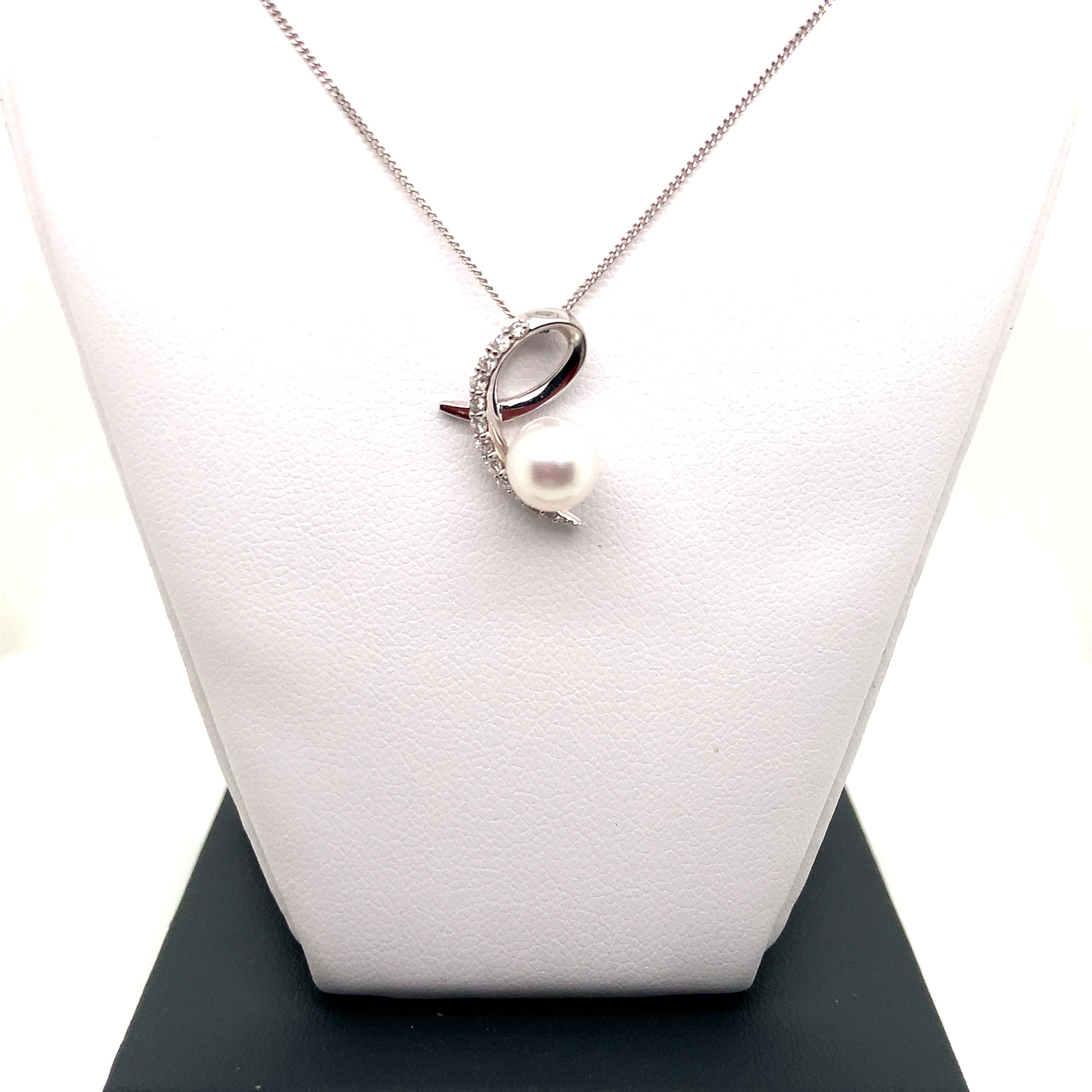 9ct White Gold Pearl & Diamond Swirl Pendant
