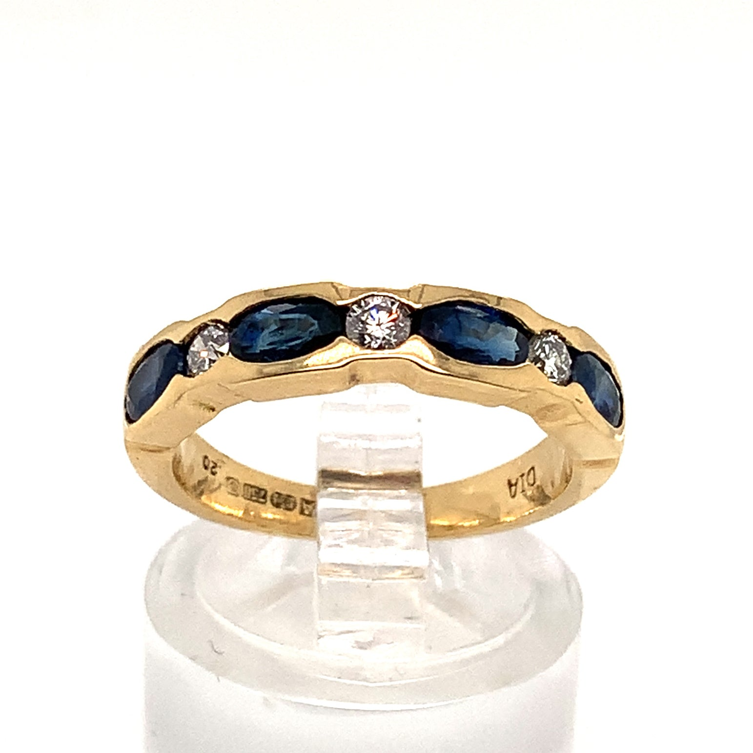 Sapphire & Diamond Channel Set Half Eternity Ring