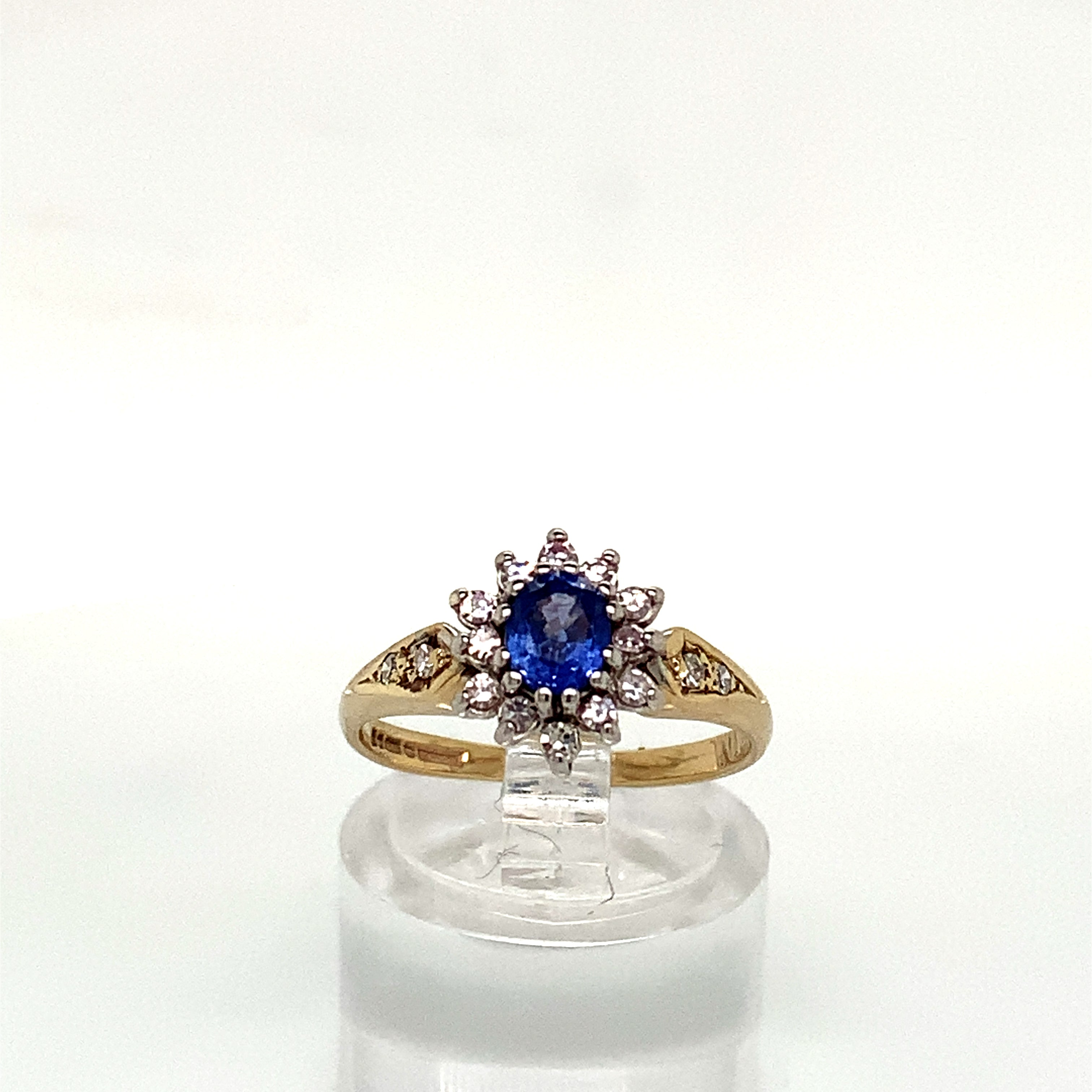 9ct Yellow Gold Sapphire & Diamond Oval Cluster Ring