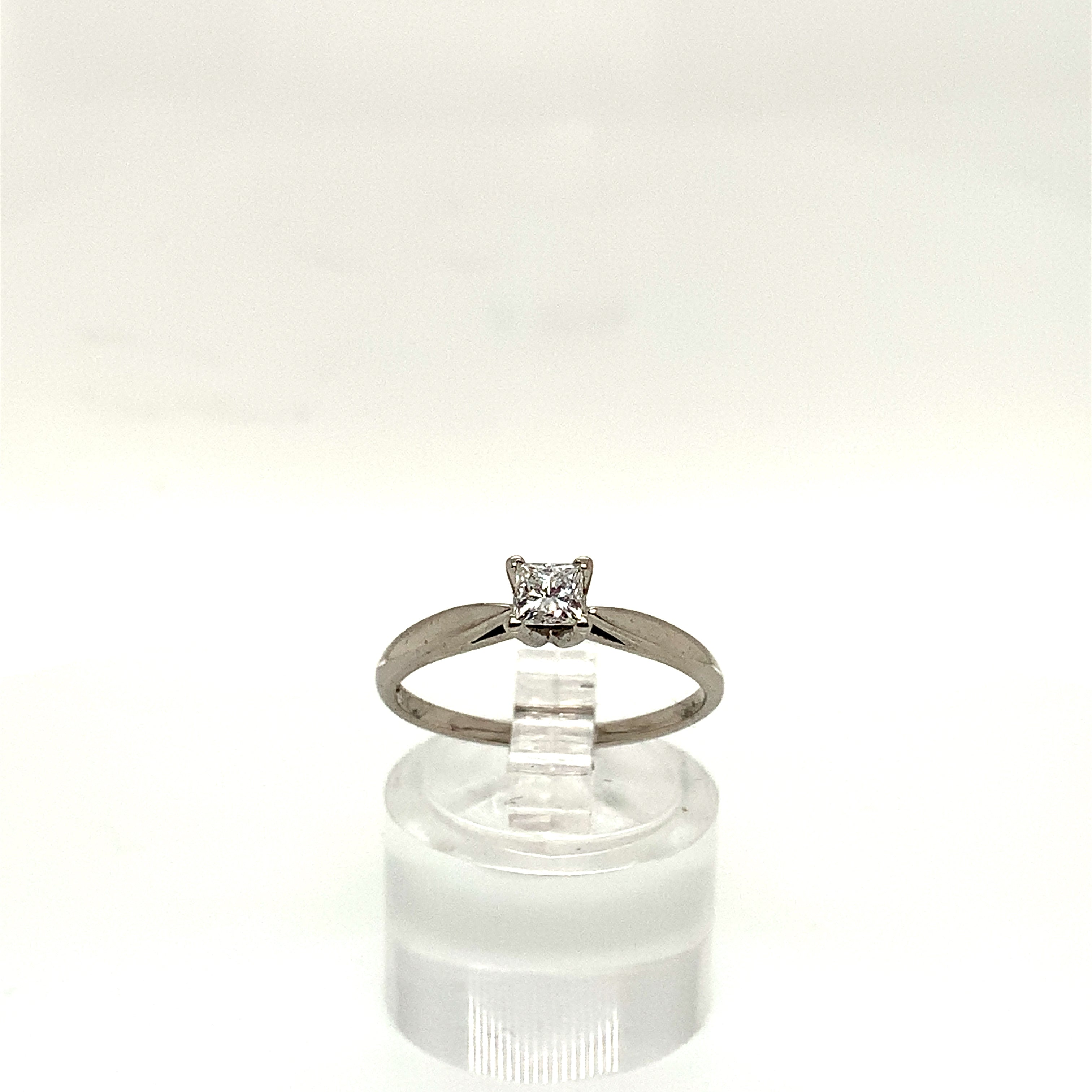 9ct White Gold 0.25ct Princess Cut Solitaire
