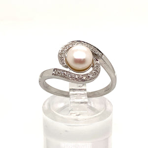 Freshwater Pearl and Diamond Swirl Ring