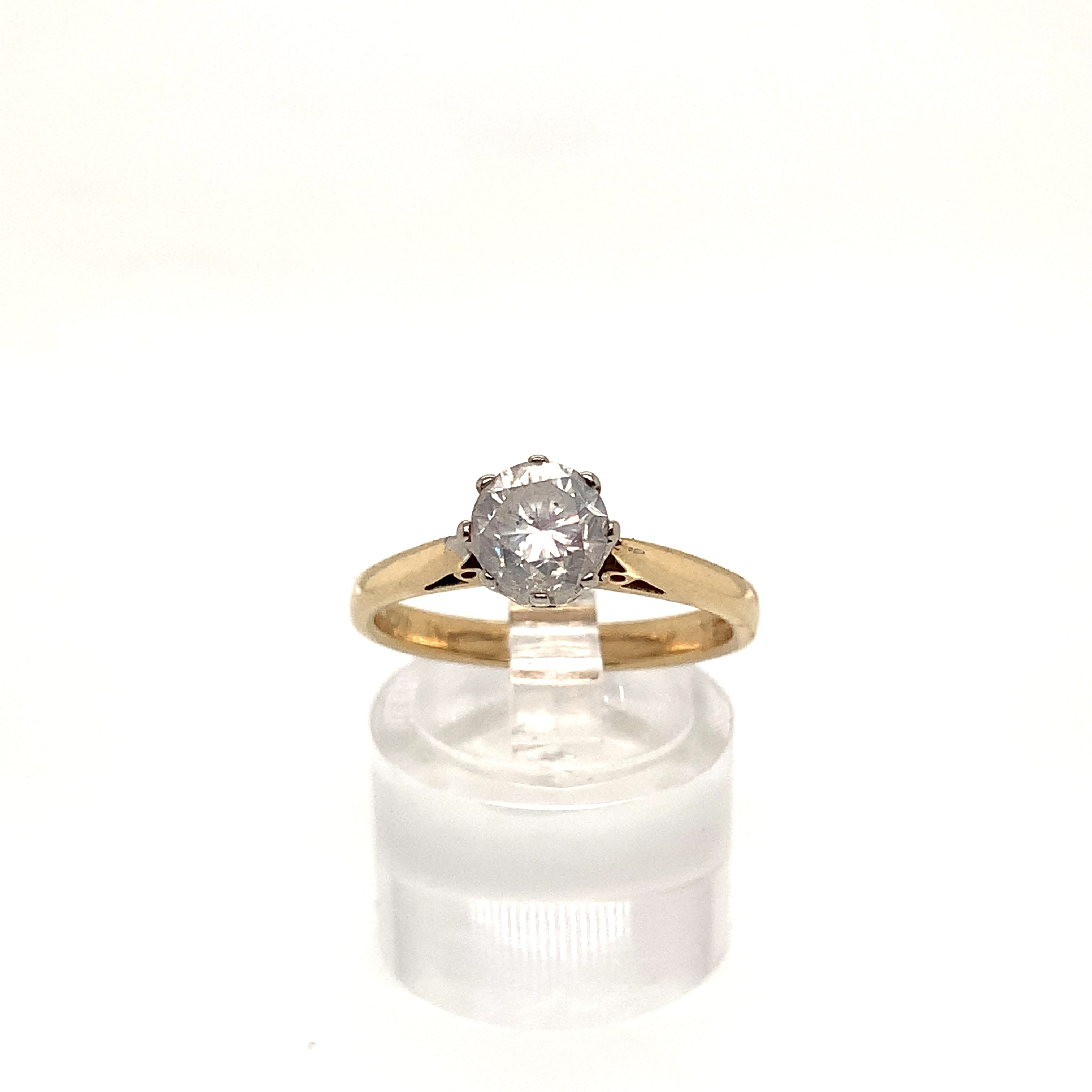 18ct Yellow Gold 8 Claw Rex Set Diamond Solitaire