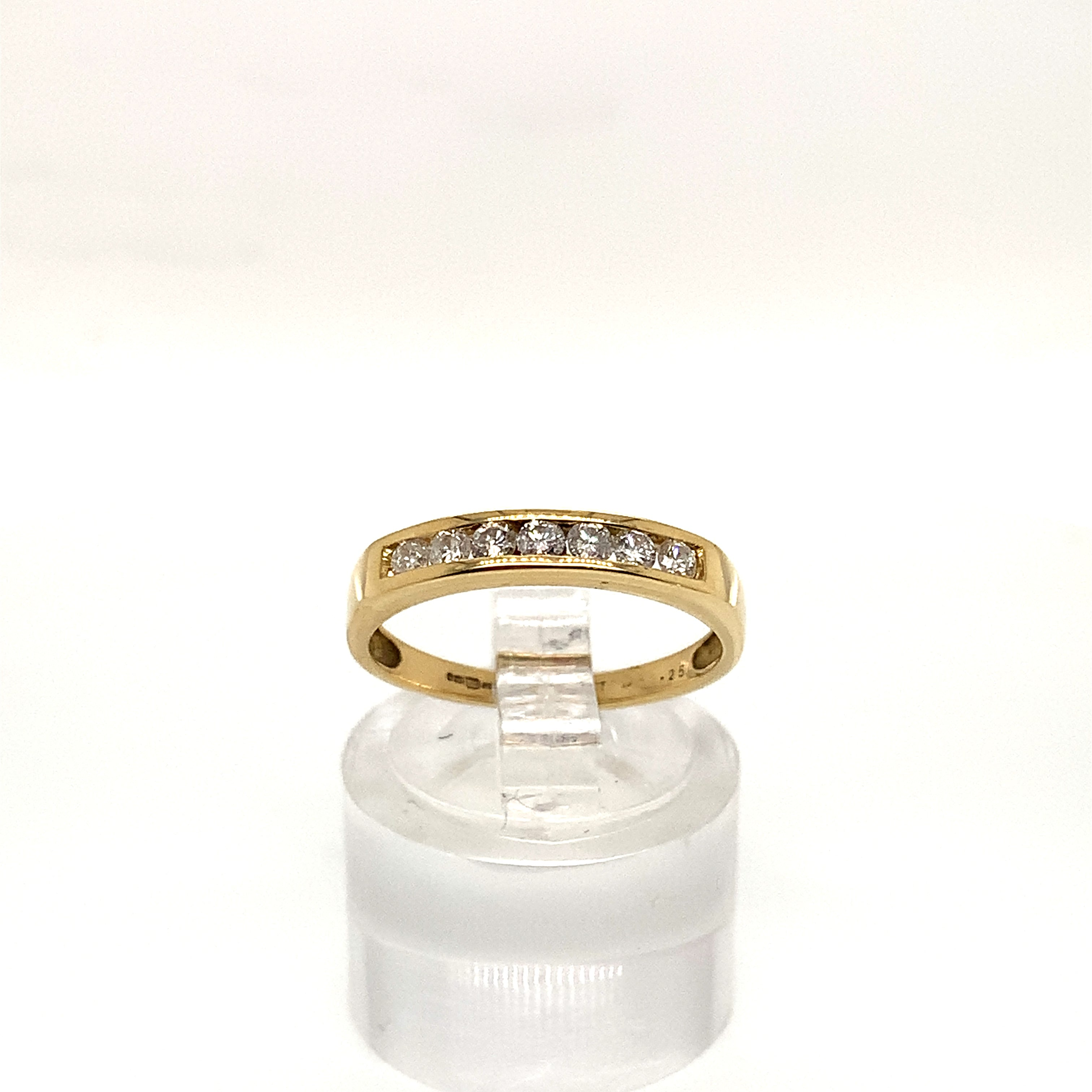 18ct Yellow Gold 7 Stone Channel Set Diamond Ring