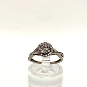9ct White Gold Pave Set Solitaire Style Ring