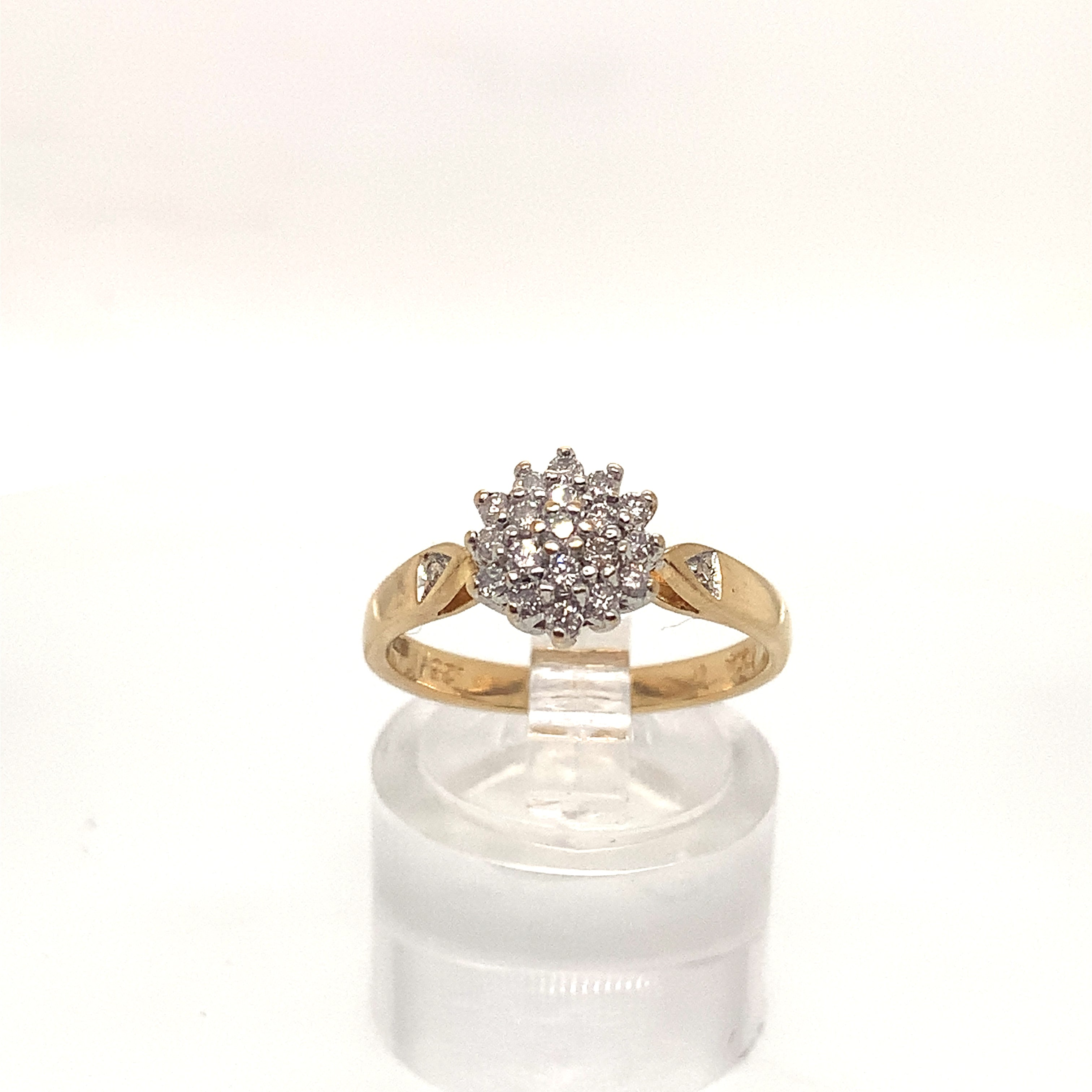 18ct Yellow Gold 0.25ct Diamond Cluster Ring