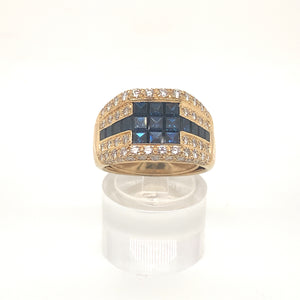 Vintage French 18ct Yellow Gold Mystery Set Sapphire & Diamond Ring