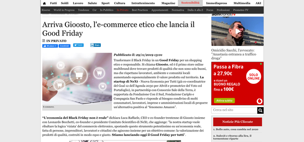 Arriva Gioosto, l'e-commerce etico che lancia il Good Friday | ADNKronos