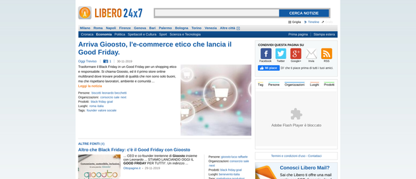 Arriva Gioosto, l'e-commerce etico che lancia il Good Friday | Libero 24x7