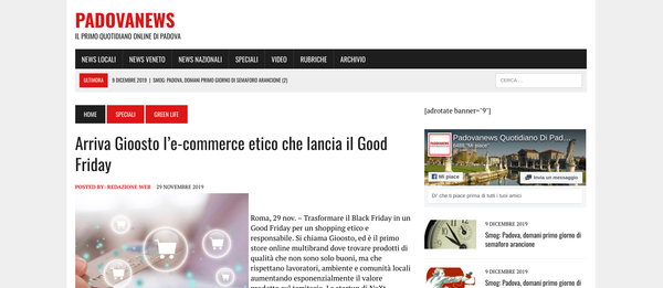 Arriva Gioosto l'e-commerce etico che lancia il Good Friday | Padova News