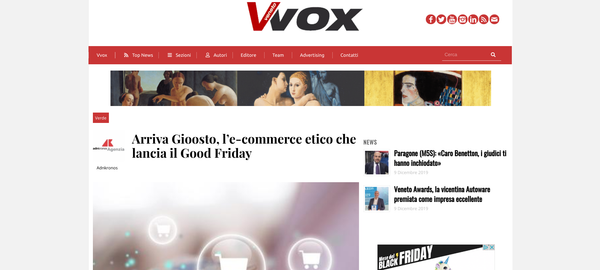 Arriva Gioosto, l'e-commerce etico che lancia il Good Friday | Veneto Vox