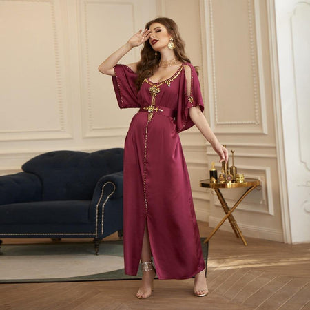 Caftan Marocain<br>rouge violet freeshipping - Robe-marocaine.fr