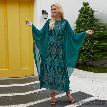 Robe Marocaine<br>verte ample avec voile sous les manches freeshipping - Robe-marocaine.fr